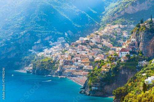 Poster Cote Morning view of Positano cityscape on coast line of mediterranean sea, Italy