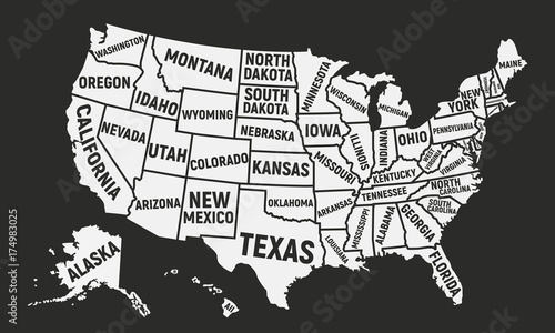 Poster map of USA with state names. United States of America ...