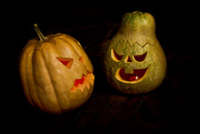 Couple Of Halloween Pumpkins Head Jack Lantern.