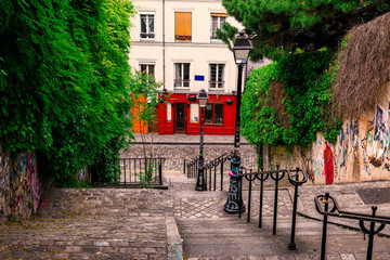 Fototapeta Paryż Typical Montmartre staircase in Paris, France