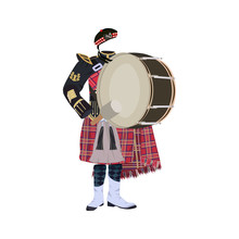 Scottish Traditional Clothing With Pipe Band Bass Drum Vector Illustration