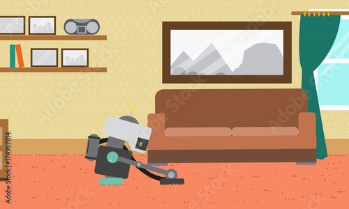 Domestic Robot cleaning carpet in the living room  Personal