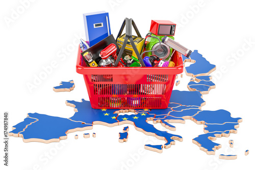 Poster Map of European Union with shopping basket full of home and kitchen appliances, 3D rendering