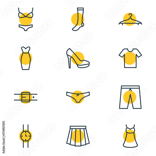 Obraz na plátně Vector Illustration Of 12 Dress Icons