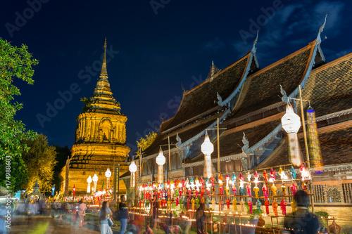 Fotografie, Obraz  Yi Peng festival in Wat  Phan Tao Temple in Chiang Mai, Thailand