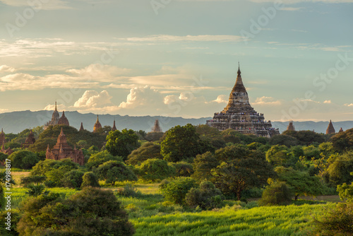 Beautiful sunrise over the ancient pagodas in Bagan, Myanmar Poster