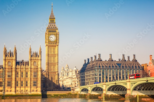 Big Ben and westminster bridge in London Canvas Print