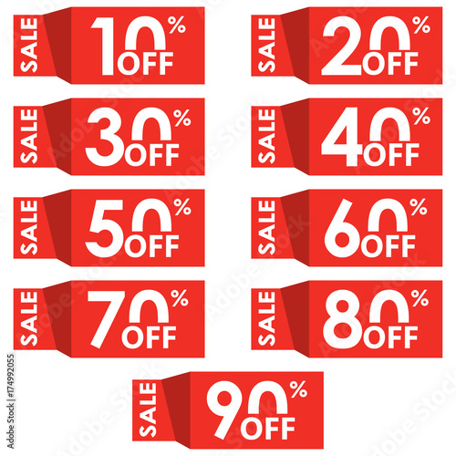 sale and discount tag set price off tag design template 10 20 30