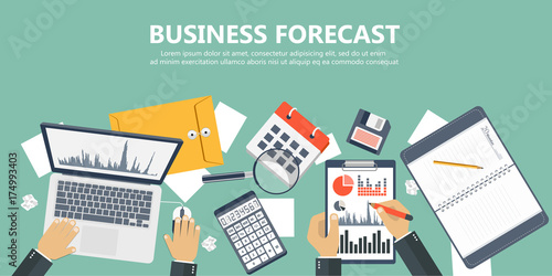 Cuadros en Lienzo Business forecast banner. Flat vector illustration