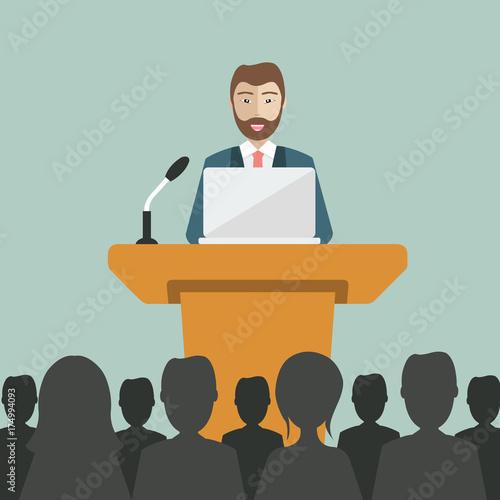 Valokuva  Flat modern design of businessman giving a presentation
