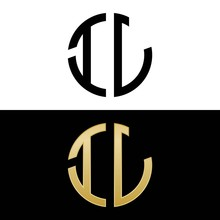 Il Initial Logo Circle Shape Vector Black And Gold