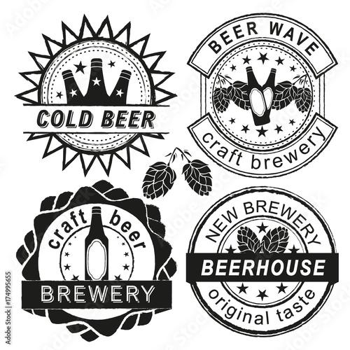 Vintage brewery logo, emblems and badges vector set. Wallpaper Mural