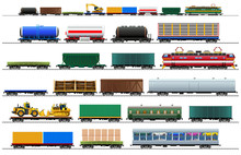 Cargo Train Cars Set, Isolated...