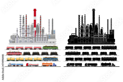 Fototapeta Oil petrochemical refinery plant, silhouette, vector, isolated obraz