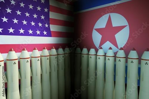 Fototapeta Pociski jądrowe w USA i Korei Północnej. 3D odpłacająca się ilustracja.