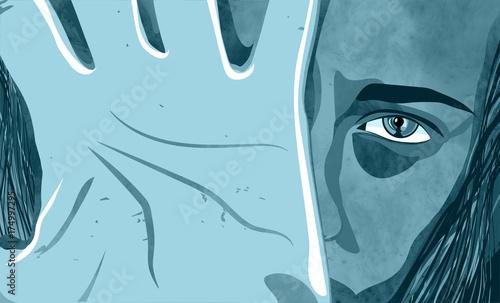 Donna depressione, maltrattamento, picchiare, ragazza, bambina, violenza sulle d Wallpaper Mural