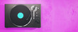 canvas print picture - Vinyl record player on pink background