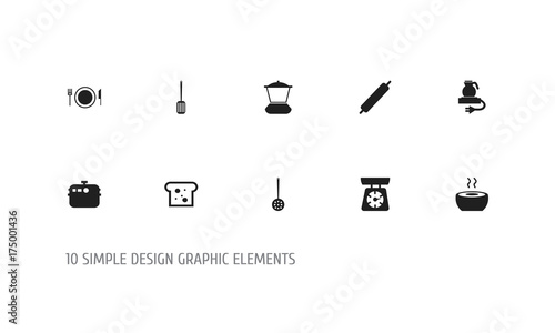 Fotografia, Obraz  Set Of 10 Editable Restaurant Icons