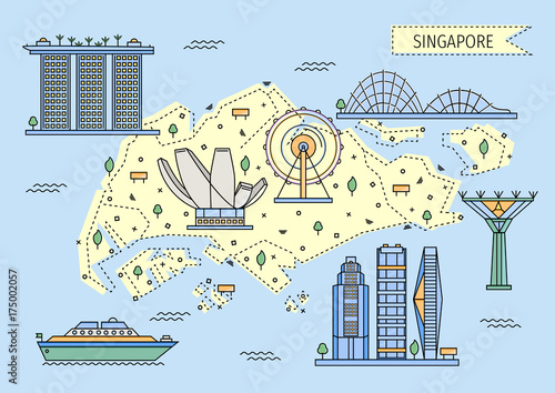 Singapore decorative map in flat line style
