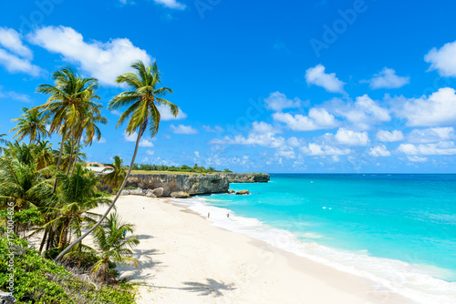 Foto auf Gartenposter Strand Bottom Bay, Barbados - Paradise beach on the Caribbean island of Barbados. Tropical coast with palms hanging over turquoise sea. Panoramic photo of beautiful landscape.