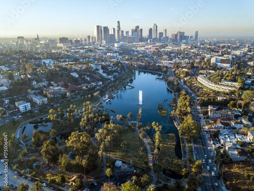 Staande foto Los Angeles Drone view on Echo Park, Los Angeles