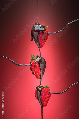truskawki-w-czekoladzie-na-czerwonym-tle