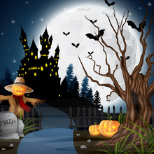 Halloween Background With Scar...