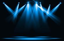 Stage Lights. Blue Spotlight S...