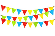 Colorful Party Flags On White ...