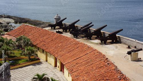 Plakat Działo bateria na El Morro w Hawańskim Kuba