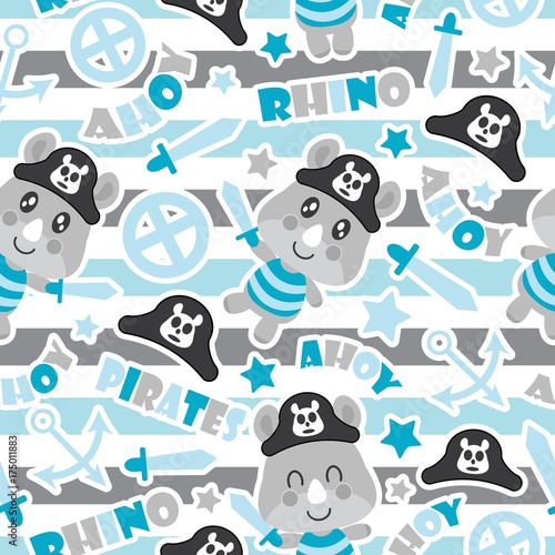 Seamless Pattern Of Cute Rhino Pirate Boys Swords And Anchors On