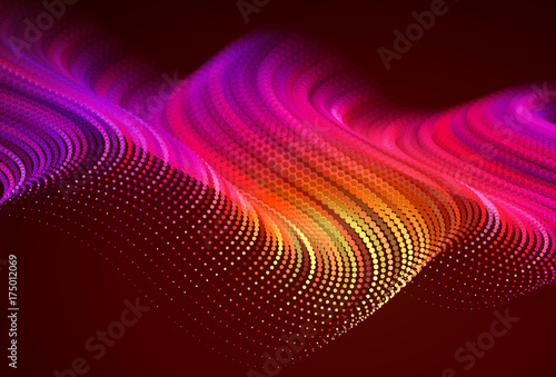 Poster Brown styleAbstract colorful digital landscape with flowing particles. Cyber or technology background. Red, pink, orange colors.