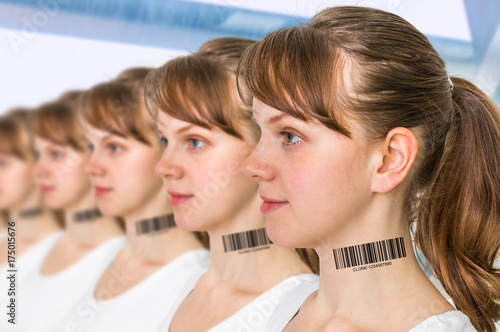 Photo A lot of women in a row with barcode - genetic clone concept