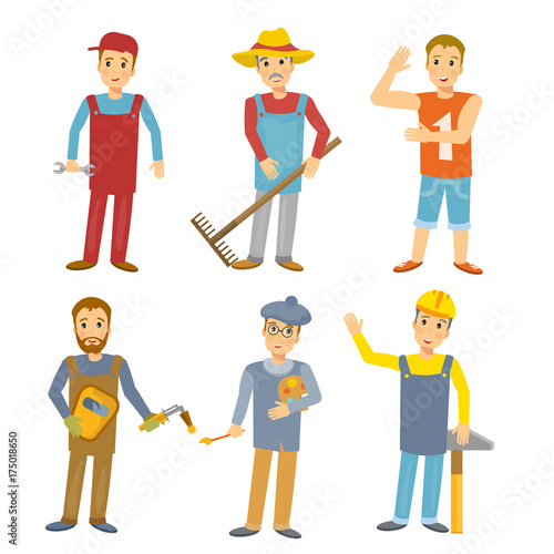 work people flat design professions collection people builder welder mechanic farmer sportsman artist kids illustration vector buy this stock vector and explore similar vectors at adobe stock adobe stock work people flat design professions