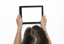 Young Woman In Red Dress Holding In Hands Tablet Computer With Blank Screen. Social Internet Life.