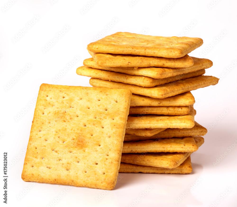 Fototapeta Close up the healthy  whole wheat cracker on white background