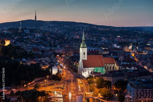 Fototapeta Bratislava Evening Cityscape in Slovakia obraz na płótnie