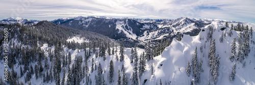 Fotografie, Obraz  Aerial of Winter Resort from Snowy Peak in Cascade Mountain Range