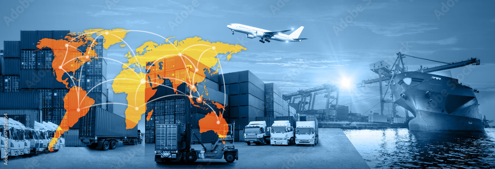 Fototapety, obrazy: Container ship in import export and business logistics, By crane, Trade Port, Shipping cargo to harbor, Aerial view from drone, International transportation, Business logistics concept