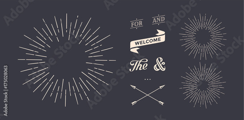 Foto auf AluDibond Retro Set of light rays, sunburst and rays of sun. Design elements, linear drawing, vintage hipster style. Light rays sunburst, arrow, ribbon, and, for, the and ampersand. Vector Illustration