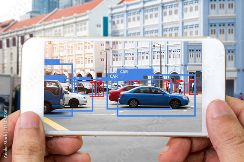 Fotografia  Machine Learning analytics identify person , cars technology , Artificial intelligence concept