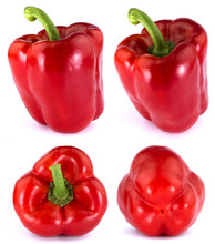 Red Bulgarian Pepper Isolated On White Background