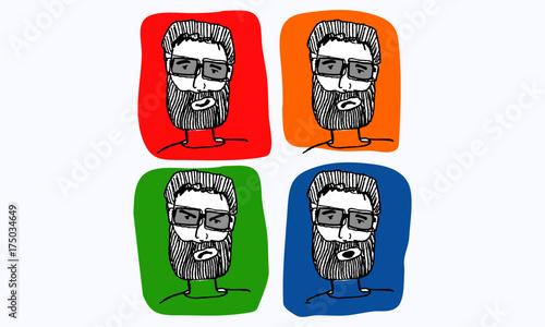 Fototapeta Ręcznie rysowane brodaty mężczyzna (ilustracja wektorowa)