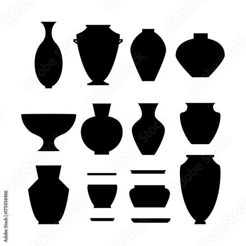 pottery icon set Wallpaper Mural
