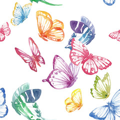 Fototapeta Watercolor butterfly vector pattern