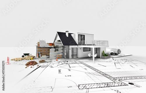 Projet d'agrandissement rénovation extension d'une maison Wallpaper Mural