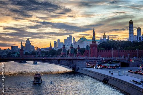 Plakat Centrum Moskwy, Kremla i nasyp o zachodzie słońca