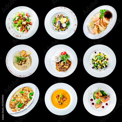 Spoed Foto op Canvas Klaar gerecht set of various plates of food isolated on black background with clipping path for Menu