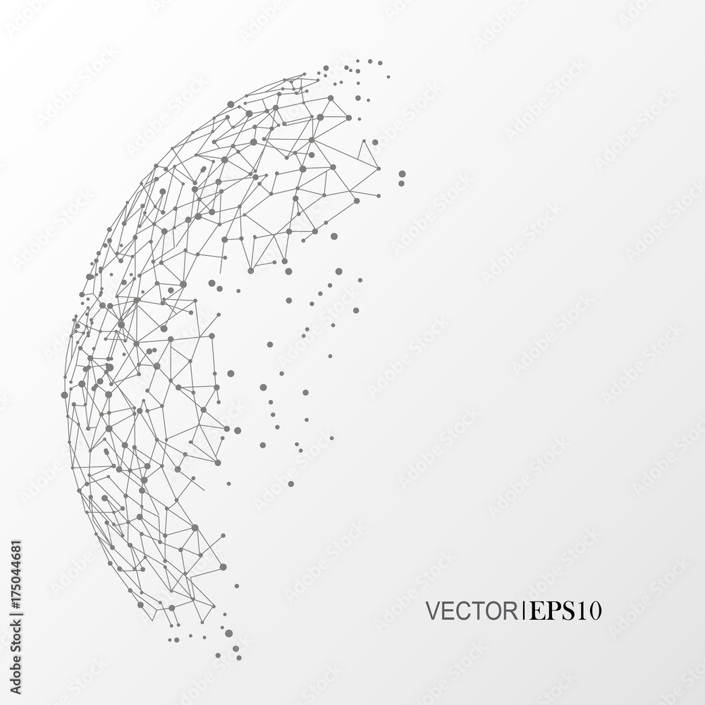 Fototapeta Connection concept. Geometric vector background for business or science
