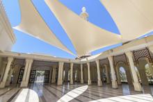 Atrium Of A Mosque With Sun Sails Giving Shade, Aqaba,